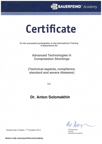 Certificate for the successful participation in the international Training of Bauerfeind AG. Advenced Technologies in Compression Stockings. Berlin-Zeulenroda-Triebes, 1 October 2013